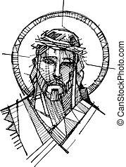 hans, kristus, illustration, jesus, passion, ansikte