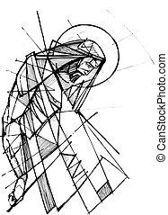hans, kristus, illustration, jesus, passion, bläck