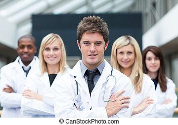 hans, läkare, ledande, ung, lag, stilig