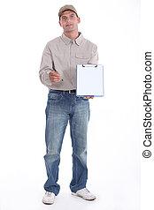 hans, oppe, fødsel, clipboard, holde, underskrift, mand