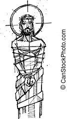 hans, passion, kristus, illustration, jesus