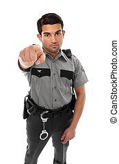 hans, polis, pekande, vakt, tjänsteman, fängelse, eller,...