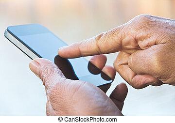 hans, smartphone, texting, man
