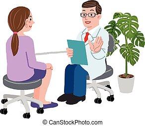 hans, tålmodig, kvinnlig, kontor, läkare