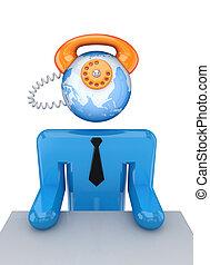 hans, telefon, person, head., liten, instead