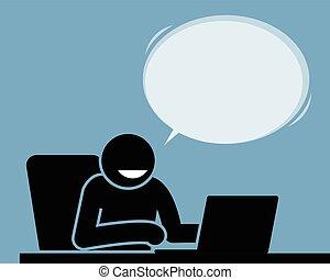 hans, tillfreds, laptop., användande, känsla, man
