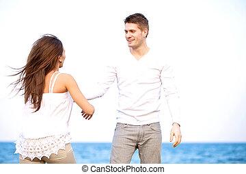 hans, udendørs, girlfriend, guy, nyd, pæn