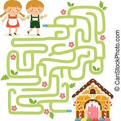 hansel, jeu, gretel, labyrinthe