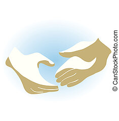 two hands on light blue background, in vector