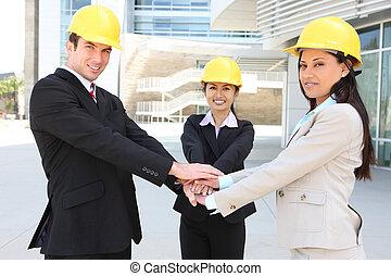 hanshake, zbudowanie, drużyna