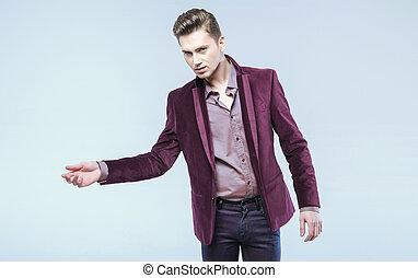 hansome, 남자, 입는 것, 최신 유행의, 재킷