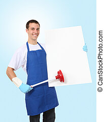 Hansome Man Cleaner with Sign