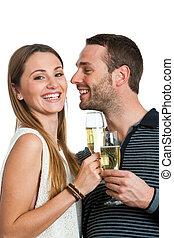 hansome, par, fazer, um brinde, com, champanhe.