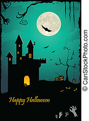 hanté, château, halloween