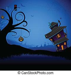 hanté, halloween, maison