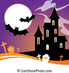 hanté, halloween, maison, conception