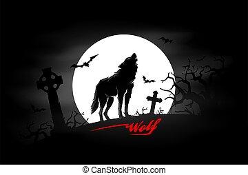 hanté, loup, noir, lune, cimetière, entiers