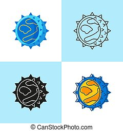 Hantavirus cell icon set in flat and line style
