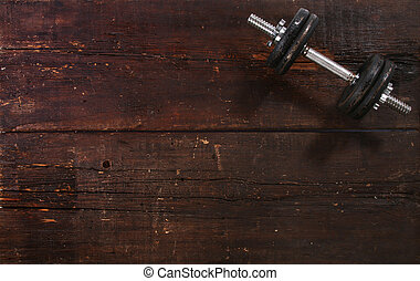 hantel, övning, vikt, på, a, trä golvbeläggning