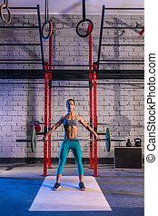 hantel, gewicht aufzuheben, frau, weightlifting, an,...