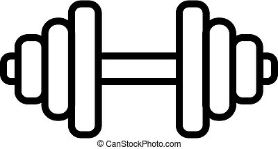 hantel, gymnastiksal, symbol, ikon, vector., isolerat, illustration, kontur