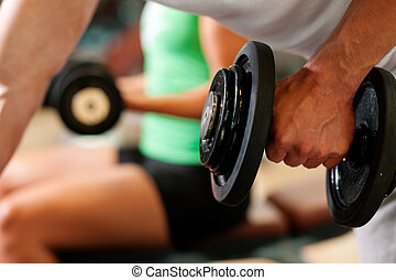 hantel, training, in, turnhalle