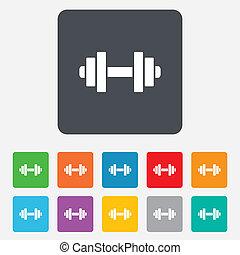 hantel, zeichen, icon., fitness, symbol.