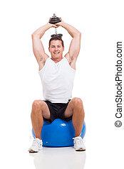 hanteln, trainieren, junger, kugel, fitness, mann