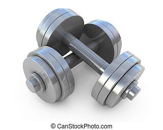 hantlar, vikt, chromed, isolerat, utrustning, fitness, vit, övning