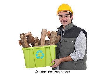 hantverkare, hålla en låda, med, återvinning, material