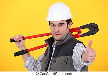 hantverkare, holdingen, a, skruvnyckel, och, tillverkning,...