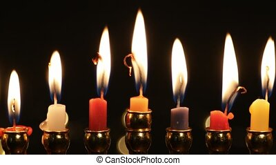 Hanukah candles celebrating the Jewish holiday, close-up, 4k