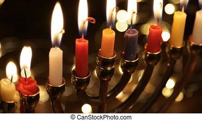 Hanukah candles celebrating the Jewish holiday, close-up, 4k