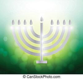 hanukah candles over a colorful green illustration design...