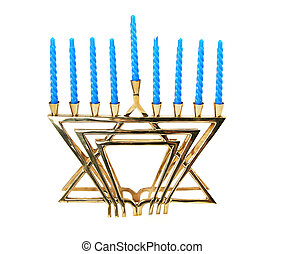 Hanukah Menorah - A golden menorah with candles, isolated.