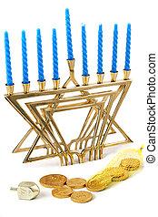 Hanukah Still Life 1 - A Hanukah menorah, dreidel, and bag...