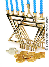 Hanukah Still Life 2 - A menorah with candles along with a...
