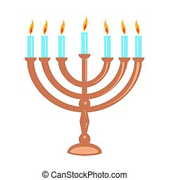 Hanukka menorah isolated on white - Jewish menorah isolated...