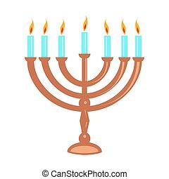 Hanukka menorah isolated on white - Jewish menorah isolated...