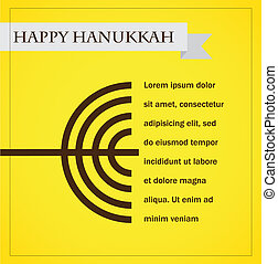 hanukka menorah on yellow. happy hanukkah
