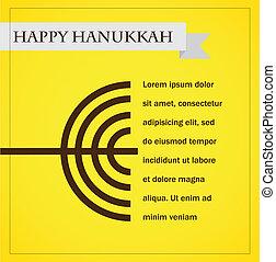 hanukka menorah on yellow. happy hanukkah