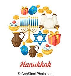 hanukkah, żydowski, obiekty, święto, karta, celebrowanie