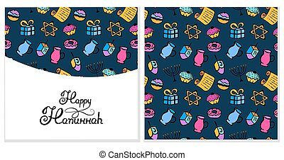 hanukkah, 問候, card., a, 集合, ......的, 傳統, attributes, ......的, the, 大燭台, dreidel, 油, torah, donut., seamless, 圖案, 在, a, 心不在焉地亂寫亂畫, style.