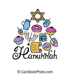 hanukkah, 手, lettering., 大燭台, dreidel, 蜡燭, 橄欖油, torah, donuts, 在, a, 心不在焉地亂寫亂畫, 風格, 在, color.