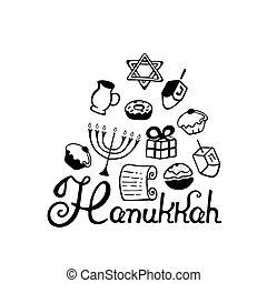 hanukkah, 手, lettering., 大燭台, dreidel, 蜡燭, 橄欖油, torah, donuts, 在, a, 心不在焉地亂寫亂畫, style.