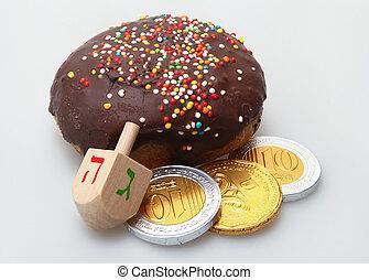 hanukkah, 炸面圈, 以及, 跨越頂部