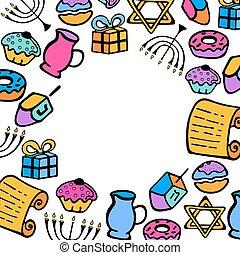 hanukkah., a, 集合, ......的, 傳統, 項目, 為, the, 猶太的假日, ......的, 光, 在, the, 心不在焉地亂寫亂畫, style.