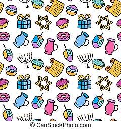 hanukkah., a, 集合, ......的, 傳統, attributes, ......的, the, 大燭台, dreidel, 油, torah, donut., seamless, 圖案, 在, a, 心不在焉地亂寫亂畫, 風格