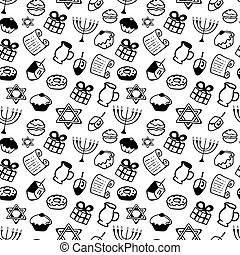 hanukkah., a, 集合, ......的, 傳統, attributes, ......的, the, 大燭台, dreidel, 蜡燭, 橄欖油, torah, donuts, 在, a, 心不在焉地亂寫亂畫, style., seamless, 圖案