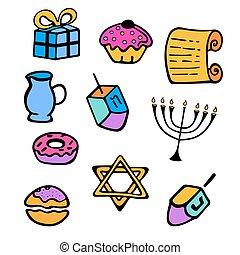 hanukkah., a, 集合, ......的, 傳統, attributes, ......的, the, 大燭台, dreidel, 蜡燭, torah, donuts, 在, a, 心不在焉地亂寫亂畫, style.